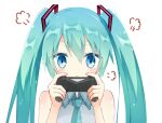 1girl :< aqua_hair aqua_neckwear arms_up bangs bare_shoulders blue_eyes closed_mouth controller eyebrows_visible_through_hair eyes_visible_through_hair hair_ornament hatsune_miku holding holding_controller kamu_(geeenius) looking_at_viewer necktie sidelocks simple_background twintails vocaloid
