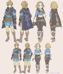 1boy 1girl armor back belt blonde_hair blue_eyes boots cape character_sheet full_body hand_on_own_chest highres knee_boots link medium_hair pointy_ears princess_zelda short_hair shuri_(84k) smile the_legend_of_zelda the_legend_of_zelda:_breath_of_the_wild the_legend_of_zelda:_breath_of_the_wild_2 tied_hair