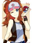 1girl baseball_cap black_vest blue_eyes breasts brown_hair closed_mouth curly_hair denim denim_shorts hat high_ponytail highres hilda_(pokemon) long_hair looking_at_viewer poke_ball pokemon pokemon_(game) pokemon_bw ponytail riu00 shirt shorts sleeveless sleeveless_shirt smile solo tank_top vest white_shirt wristband
