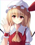 1girl crying crying_with_eyes_open flandre_scarlet hand_up hat highres kure:kuroha mob_cap open_hand simple_background solo streaming_tears tears touhou upper_body waving white_background white_headwear wings