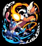 cinderace commentary_request fire gen_6_pokemon gen_8_pokemon greninja highres iroyopon looking_back open_mouth paws pokemon pokemon_(creature) teeth toes tongue translation_request water