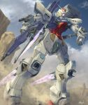 absurdres arm_cannon artist_name atsajh blue_eyes clenched_hand clouds commission g3-saviour gun gundam gundam_g-saviour highres holding holding_gun holding_weapon looking_up mecha no_humans skeb_commission sky solo thrusters v-fin weapon