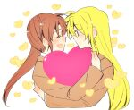 2girls blonde_hair brown_hair closed_eyes couple fate_testarossa happy heart long_hair looking_at_another lyrical_nanoha mahou_shoujo_lyrical_nanoha mahou_shoujo_lyrical_nanoha_a's multiple_girls open_mouth red_eyes school_uniform side_ponytail simple_background smile sorato_(astllatte) takamachi_nanoha uniform very_long_hair white_background yuri