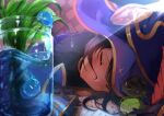 1girl blush closed_eyes fur_trim genshin_impact hat highres indoors kanon_(kanon_kanon0770) mona_(genshin_impact) paper parted_lips plant purple_hair sleeping slime solo sunlight table tired twintails vase water witch_hat