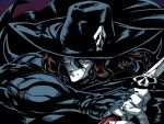 1boy brown_hair cape closed_mouth d_(vampire_hunter_d) hat highres male_focus muscular simple_background solo sword tukiwani vampire vampire_hunter_d weapon