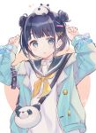 1girl animal_bag arms_up bag bangs black_hair black_sailor_collar blue_bow blue_eyes blue_jacket blush bow brown_background commentary_request double_bun eyebrows_visible_through_hair hair_ornament hairclip highres jacket long_sleeves looking_at_viewer neckerchief notice_lines on_head open_clothes open_jacket original parted_lips puffy_long_sleeves puffy_sleeves sailor_collar school_uniform sencha_(senta_10) serafuku shirt shoulder_bag signature sleeves_past_wrists solo stuffed_animal stuffed_panda stuffed_toy two-tone_background upper_body white_background white_shirt x_hair_ornament yellow_neckwear