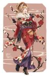 1girl blonde_hair floral_print flower furisode geta granblue_fantasy hair_flower hair_ornament hairband highres japanese_clothes kimono looking_at_viewer new_year obi red_kimono sash shimatani_azu solo twintails yukata zeta_(granblue_fantasy)