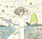 1girl arm_up awai880 ball beach beachball black_eyes bright_pupils clouds confetti dress earrings flower gorilla grey_hair highres jewelry original outdoors oversized_object ribbon short_hair signature smile solo surreal watermelon_slice white_dress white_flower white_pupils