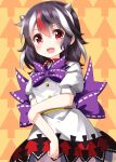 1girl arrow_(projectile) arrow_background bangs black_hair black_skirt bow bowtie buttons cowboy_shot eyebrows_visible_through_hair hair_between_eyes highres holding_arm horns kijin_seija looking_at_viewer multicolored_hair open_mouth puffy_short_sleeves puffy_sleeves purple_bow purple_neckwear red_eyes redhead ribbon ribbon-trimmed_bow ruu_(tksymkw) shirt short_sleeves skirt smile solo standing streaked_hair touhou v-shaped_eyebrows white_hair white_ribbon white_shirt yellow_background