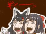 3girls ahoge animal_ear_fluff animal_ears aqua_eyes bangs black_hair blue_eyes bow bright_pupils brown_background commentary_request face fox_ears fox_girl hair_ornament hairclip hololive long_hair looking_ahead looking_at_viewer looking_away looking_to_the_side multicolored_hair multiple_girls nekoyama nose ookami_mio oozora_subaru open_mouth parody parody_request red_bow redhead shirakami_fubuki short_hair simple_background sketch streaked_hair teeth translation_request two-tone_hair virtual_youtuber white_hair white_pupils wolf_ears wolf_girl yellow_eyes