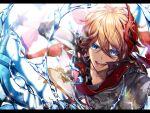 1boy bangs blue_eyes genshin_impact gloves hair_between_eyes holding holding_weapon jacket jewelry letterboxed looking_at_viewer male_focus mask mask_on_head orange_hair red_scarf scarf single_earring solo tartaglia_(genshin_impact) upper_body urashima_(hidoro_mgmg) vision_(genshin_impact) water weapon
