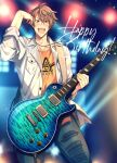 1boy argonavis_from_bang_dream! bang_dream! brown_hair cowboy_shot goryou_yuuto guitar happy_birthday instrument jacket male_focus open_mouth saigi sleeves_rolled_up solo torn_clothes white_jacket