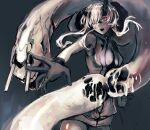 1girl abyssal_ship asymmetrical_horns bangs black_gloves breasts colored_skin gloves grey_background hagioshi heavy_cruiser_princess hood hood_down horns kantai_collection large_breasts open_mouth pale_skin red_eyes short_hair_with_long_locks simple_background sketch sleeveless tail teeth white_hair white_skin