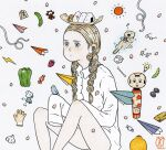 1girl awai880 bare_legs beamed_eighth_notes bird blonde_hair blue_eyes braid candy collared_shirt dice earphones earphones eighth_note feet_out_of_frame food fruit glasses light_bulb long_hair musical_note original otter paper_airplane pepper petals red_sun shirt shougi_piece signature sleeves_past_fingers sleeves_past_wrists solo strawberry twin_braids very_long_sleeves white_shirt