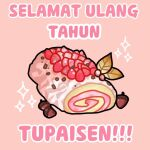 acorn ayunda_risu cake commentary_request food hololive hololive_indonesia indonesian_commentary indonesian_text kureiji_ollie_(artist) leaf no_humans objectification pink_background solo sparkle swiss_roll translation_request virtual_youtuber