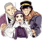 1girl 2boys :d ainu ainu_clothes asirpa bandana black_eyes black_hair black_headwear blue_bandana blue_coat blue_eyes blush brown_eyes buzz_cut cape closed_mouth coat commentary_request ear_piercing earrings facial_hair fur_cape goatee golden_kamuy grey_hair hand_on_another's_face hat hoop_earrings imperial_japanese_army jacket jewelry kepi long_hair long_sleeves looking_at_another looking_at_viewer looking_to_the_side military military_hat military_uniform multiple_boys nbsttr open_mouth piercing purple_jacket scar scar_on_cheek scar_on_face scar_on_mouth scar_on_nose scarf shiraishi_yoshitake shirt short_hair sideburns simple_background smile spiky_hair star_(symbol) sugimoto_saichi two-tone_headwear uniform upper_body very_short_hair white_background white_cape white_shirt yellow_headwear yellow_scarf
