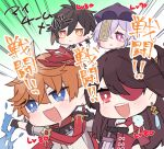 2boys 2girls bangs beidou_(genshin_impact) blue_eyes brown_hair chibi closed_mouth eyepatch genshin_impact hair_between_eyes hat highres holding holding_sword holding_weapon jewelry long_hair mask mask_on_head multiple_boys multiple_girls ofuda open_mouth orange_hair purple_hair purple_headwear qing_guanmao qiqi red_eyes red_scarf scarf single_earring sword tartaglia_(genshin_impact) translation_request violet_eyes weapon yellow_eyes zhongli_(genshin_impact) zoo_min