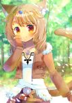 1girl animal_ear_fluff animal_ears bangs belt belt_buckle blurry blurry_background blush brown_belt brown_eyes brown_gloves brown_hair brown_jacket brown_pants buckle cat_ears cat_girl cat_tail closed_mouth collarbone commentary_request cropped_jacket depth_of_field eyebrows_visible_through_hair final_fantasy final_fantasy_xiv fingerless_gloves forest fur-trimmed_jacket fur_trim gloves hand_up headpiece jacket jewelry kouu_hiyoyo long_sleeves looking_at_viewer miqo'te nature open_clothes open_jacket original pants pendant shirt smile solo tail tail_raised white_shirt