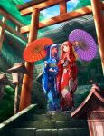 2girls architecture bangs blue_hair blue_kimono blue_ribbon blunt_bangs commentary day east_asian_architecture floral_print full_body hair_ribbon highres holding holding_umbrella japanese_clothes kimono kotonoha_akane kotonoha_aoi kurione_(zassou) lantern long_hair multiple_girls multiple_torii obi oil-paper_umbrella open_mouth pink_eyes pink_hair purple_umbrella red_kimono red_ribbon red_umbrella ribbon sash siblings sisters smile stairs standing sunlight tabi temple torii tree umbrella voiceroid