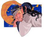 1boy 1girl ainu ainu_clothes asirpa bandaged_head bandages bandana black_hair black_headwear blue_background blue_bandana cape closed_eyes commentary_request dlcaaa030 ear_piercing earrings face_licking framed from_side fur_cape golden_kamuy hand_on_another's_face hat holding_another's_arm hoop_earrings imperial_japanese_army jewelry kepi licking long_hair long_sleeves military military_hat military_uniform open_mouth parted_lips piercing scar scar_on_cheek scar_on_face scar_on_mouth scar_on_nose scarf short_hair sidelocks simple_background star_(symbol) sugimoto_saichi two-tone_headwear uniform white_background white_cape wide_sleeves yellow_headwear yellow_scarf
