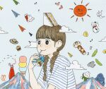 1girl awai880 bangs beamed_eighth_notes bird black_eyes blunt_bangs blush braid clouds drinking eighth_note eyebrows_visible_through_hair food food_on_head fruit gorilla grey_shirt hamburger hat lemon mountain musical_note object_on_head original paper_airplane pea_pod quarter_note red_sun sandwich shirt short_sleeves signature smile socks solo striped striped_shirt symbol-shaped_pupils tomato twin_braids upper_body