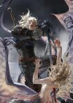 1boy 1girl armor belt blonde_hair blood bloody_weapon blue_gloves boots brown_belt brown_legwear dated facial_hair fingernails geralt_of_rivia gloves hand_on_hilt highres holding holding_sword holding_weapon impaled jane_mere medium_hair monster_girl pauldrons scar scar_on_face sharp_fingernails shoulder_armor signature slit_pupils stab sword the_witcher weapon weapon_on_back white_hair wings yellow_eyes