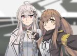 2girls ahoge armband bangs black_gloves black_jacket brown_eyes brown_hair coat collared_jacket dress_shirt fingerless_gloves girls_frontline gloves hair_between_eyes hair_ornament hairclip iws-2000_(girls_frontline) jacket long_hair long_sleeves looking_at_viewer multiple_girls open_clothes open_jacket overcoat reaching_out red_eyes scar scar_across_eye self_shot shirt silver_hair smile tab_(tabkun) twintails ump9_(girls_frontline) upper_body white_jacket white_shirt white_uniform
