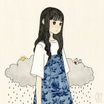 1girl awai880 bangs black_eyes black_hair blunt_bangs blush bright_pupils clouds commentary_request long_hair original overalls rain shirt short_sleeves signature solo tan_background upper_body white_pupils white_shirt
