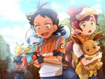 1girl 2boys antenna_hair arms_up ash_ketchum bangs baseball_cap black_gloves black_hair black_headwear blue_eyes blurry blush chitozen_(pri_zen) chloe_(pokemon) clouds commentary_request day eevee eyelashes fingerless_gloves gen_1_pokemon gen_8_pokemon gloves goh_(pokemon) green_eyes hair_ornament hat holding holding_pokemon long_hair multiple_boys on_head on_shoulder open_mouth outdoors pikachu pokemon pokemon_(anime) pokemon_(creature) pokemon_on_head pokemon_on_shoulder pokemon_swsh_(anime) short_sleeves sky smile sobble sparkle spread_fingers tongue