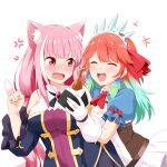 2girls :d absurdres anger_vein animal_ear_fluff animal_ears ascot bangs bare_shoulders blunt_bangs blush breasts cat_ears cat_girl cat_tail chicken_(food) closed_eyes commentary cosplay eyebrows_visible_through_hair fang felutiahime food gem gloves green_hair hair_ornament hair_ribbon hand_up highres holding holding_food hololive karyl_(princess_connect!) karyl_(princess_connect!)_(cosplay) large_breasts long_hair long_sleeves looking_at_another mori_calliope multicolored_hair multiple_girls open_mouth pecorine_(princess_connect!) pecorine_(princess_connect!)_(cosplay) pink_eyes pink_hair pink_nails princess_connect! princess_connect!_re:dive puffy_short_sleeves puffy_sleeves ribbon shirt short_sleeves simple_background skirt smile streaked_hair tail takanashi_kiara tiara upper_body virtual_youtuber white_background white_gloves white_hair white_shirt wide_sleeves
