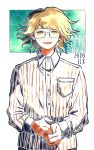 1boy :d bangs breast_pocket collared_shirt commentary_request cowboy_shot danganronpa_(series) danganronpa_another_episode:_ultra_despair_girls dated dress_shirt fujisaki_taichi glasses green_background happy_birthday kiri_(2htkz) long_sleeves looking_at_viewer male_focus open_mouth own_hands_together pocket rimless_eyewear shirt smile solo striped upper_body white_background