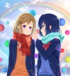 2girls absurdres adachi_sakura adachi_to_shimamura ball blazer blue_eyes blue_hair blue_scarf day hair_ornament hairclip hand_up highres jacket ljcc100861 long_hair long_sleeves medium_hair multiple_girls orange_sweater_vest outdoors rainbow red_neckwear red_scarf scarf shimamura_hougetsu short_hair sitting skirt smile standing sweater_vest violet_eyes yuri