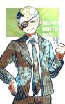 1boy blonde_hair brown_jacket brown_pants collarbone commentary_request cowboy_shot danganronpa_(series) danganronpa_2:_goodbye_despair eyepatch formal freckles green_background green_eyes grin hand_on_hip hand_up jacket jewelry kiri_(2htkz) kuzuryuu_fuyuhiko looking_at_viewer male_focus necktie pants ring shirt short_hair simple_background smile solo suit very_short_hair white_background white_shirt
