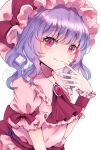 1girl ascot bangs blush bow breasts brooch closed_mouth dress eyebrows_visible_through_hair hand_to_own_mouth hat hat_bow jaku_sono jewelry long_hair mob_cap pink_dress pink_eyes pink_headwear puffy_short_sleeves puffy_sleeves purple_hair red_bow red_neckwear remilia_scarlet short_sleeves simple_background small_breasts smile solo touhou upper_body wavy_hair white_background wrist_cuffs