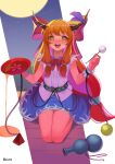 1girl :d absurdres alcohol artist_name bare_shoulders blue_skirt blush bow bowtie breasts chain commentary_request cuffs cup drooling eyebrows_visible_through_hair full_moon gourd grass highres holding holding_cup holding_stick horn_ornament horn_ribbon horns ibuki_suika kneeling korean_commentary long_hair looking_at_viewer moon night night_sky nose_blush oni_horns open_mouth orange_eyes orange_hair purple_ribbon recare red_bow ribbon sakazuki shackles shirt sidelocks skirt sky small_breasts smile solo star_(sky) stick torn_clothes touhou upper_teeth very_long_hair white_shirt wrist_cuffs