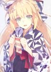 1girl ahoge artoria_pendragon_(all) artoria_pendragon_(caster) bangs blonde_hair blue_kimono blush breasts fate/grand_order fate_(series) green_eyes hair_ornament hakama highres japanese_clothes kimono long_hair long_sleeves looking_at_viewer open_mouth saipaco sash small_breasts smile twintails wide_sleeves