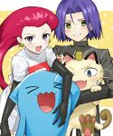 1boy blush denney_(sukeru_ramune) gen_1_pokemon gen_2_pokemon highres james_(pokemon) jessie_(pokemon) meowth pokemon pokemon_(anime) smile team_rocket wobbuffet