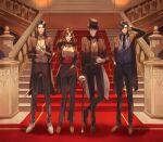 1girl 3boys arsene_lupin_iii beard black_hair black_headwear black_jacket black_neckwear black_pants blue_neckwear blue_vest bow bowtie brown_eyes brown_footwear brown_hair closed_mouth dress_shirt facial_hair formal frown full_body glasses grin hair_over_one_eye halorane hand_in_hair hand_in_pocket hand_on_hilt highres indoors ishikawa_goemon_xiii jacket jigen_daisuke long_hair long_sleeves looking_at_viewer lupin_iii mine_fujiko multiple_boys necktie open_clothes open_jacket pants red_bow red_neckwear shiny shiny_hair shirt short_hair smile stairs vest white_footwear white_shirt