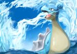 afloat day gen_1_pokemon highres ikei lapras looking_to_the_side mixed-language_commentary no_humans open_mouth outdoors pokemon pokemon_(creature) sky tongue water