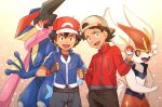2boys artist_name ash-greninja ash_ketchum backwards_hat bangs baseball_cap black_hair black_shirt blue_eyes blue_jacket brown_eyes brown_hair chitozen_(pri_zen) cinderace eyelashes fingerless_gloves gen_6_pokemon gen_8_pokemon gloves goh_(pokemon) greninja hand_up hat holding holding_poke_ball jacket male_focus multiple_boys open_mouth pants poke_ball poke_ball_(basic) pokemon pokemon_(anime) pokemon_(creature) pokemon_swsh_(anime) shirt short_sleeves smile symbol_commentary tongue watermark