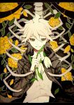 1boy bangs brown_jacket commentary_request danganronpa_(series) danganronpa_2:_goodbye_despair flower green_eyes highres holding holding_flower hood jacket komaeda_nagito kuma_no_(y6lnv) letterboxed long_sleeves looking_at_viewer male_focus medium_hair navel open_clothes open_jacket orange_flower shirt skeleton smile solo stomach upper_body white_hair