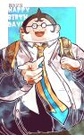 1boy :3 :d backpack bag black-framed_eyewear blue_neckwear collared_shirt commentary_request cowboy_shot danganronpa:_trigger_happy_havoc danganronpa_(series) dated fat fat_man glasses green_background hand_up happy_birthday kiri_(2htkz) long_sleeves looking_at_viewer male_focus necktie open_mouth orange_neckwear pointing round_eyewear shirt short_hair smile solo spiky_hair upper_body upper_teeth very_short_hair white_background white_shirt yamada_hifumi