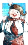 1boy apron blue_background blush_stickers bow brown_hair chef_hat commentary_request cowboy_shot danganronpa_(series) danganronpa_2:_goodbye_despair dated double-breasted facing_viewer fat fat_man hanamura_teruteru hands_up happy_birthday hat kiri_(2htkz) male_focus mini_hat neckerchief open_mouth red_apron red_bow simple_background smile solo star_(symbol) star_print upper_teeth
