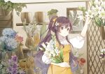 1girl absurdres apron blue_flower commentary florist flower flower_shop hair_ribbon hand_up highres holding holding_flower indoors leaf lily_(flower) long_hair looking_at_viewer mo_qingxian parted_lips plant potted_plant purple_flower purple_hair red_flower ribbon shelf shirt shop solo standing sunflower symbol_commentary upper_body very_long_hair violet_eyes vocaloid vsinger white_flower white_shirt yellow_apron yellow_ribbon yue_yuan_(1234qwea)