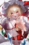 +_+ 1girl :d absurdres ascot bangs blonde_hair blurry blurry_foreground bow commentary_request crystal depth_of_field eyebrows_visible_through_hair fangs flandre_scarlet foreshortening frills hat hat_bow highres looking_at_viewer mob_cap open_hand open_mouth puffy_short_sleeves puffy_sleeves reaching_out red_bow red_eyes red_shirt red_skirt shirt short_hair short_sleeves simple_background skirt skirt_set smile solo touhou white_background white_headwear wings yellow_neckwear yukia_(yukia_777)