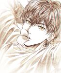 1boy arms_behind_head azuma_(paradise) bangs brown_eyes brown_hair cardigan chips commentary eyebrows_visible_through_hair food hair_between_eyes long_sleeves looking_at_viewer lying male_focus mashima_shima monochrome mouth_hold on_back paradise_(visual_novel) sepia short_hair simple_background solo