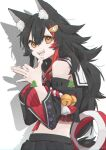1girl animal_ear_fluff animal_ears bell black_hair black_shirt black_skirt breasts commentary cowboy_shot detached_sleeves english_text eyebrows_visible_through_hair fang hair_between_eyes hair_ornament hands_together highres hololive kouhaku_nawa long_hair looking_at_viewer medium_breasts midriff multicolored_hair ookami_mio open_mouth orange_eyes pleated_skirt pochimoto redhead sailor_collar shadow shadow_puppet shirt simple_background skirt smile solo streaked_hair teeth two-tone_hair virtual_youtuber white_background wolf_ears