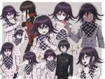 1girl 2boys absurdres ahoge angry arm_grab arms_up bangs black_hair black_jacket black_pants bojue_(hakus_1128) border checkered checkered_background checkered_neckwear checkered_scarf clenched_teeth closed_eyes closed_mouth commentary_request danganronpa_(series) danganronpa_v3:_killing_harmony double-breasted evil_grin evil_smile grey_background grin hair_ornament hair_scrunchie harukawa_maki highres holding jacket long_sleeves looking_at_viewer male_focus multiple_boys multiple_views neck_grab open_mouth ouma_kokichi pants plaid profile red_scrunchie saihara_shuuichi scarf scrunchie shaded_face shirt smile star-shaped_pupils star_(symbol) striped_jacket sweat symbol-shaped_pupils teeth upper_body white_border
