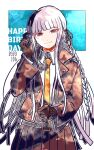 1girl bangs black_ribbon blunt_bangs braid brown_jacket clenched_hand closed_mouth collared_shirt commentary_request cowboy_shot danganronpa:_trigger_happy_havoc danganronpa_(series) dated eyebrows_visible_through_hair gloves green_background hair_ribbon happy_birthday jacket kiri_(2htkz) kirigiri_kyouko long_hair long_sleeves looking_at_viewer necktie open_clothes open_jacket pleated_skirt ribbon shirt side_braid single_braid skirt smile solo white_background white_shirt