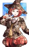 1girl bangs black_jacket black_legwear blue_background brown_vest collared_shirt commentary_request cowboy_shot danganronpa_(series) danganronpa_v3:_killing_harmony dated dress_shirt gem hair_ornament hairclip hand_up happy_birthday hat holding jacket kiri_(2htkz) long_sleeves looking_at_viewer open_clothes open_jacket open_mouth pantyhose pleated_skirt red_eyes red_skirt redhead school_uniform shirt short_hair skirt smile solo vest white_background witch_hat yumeno_himiko